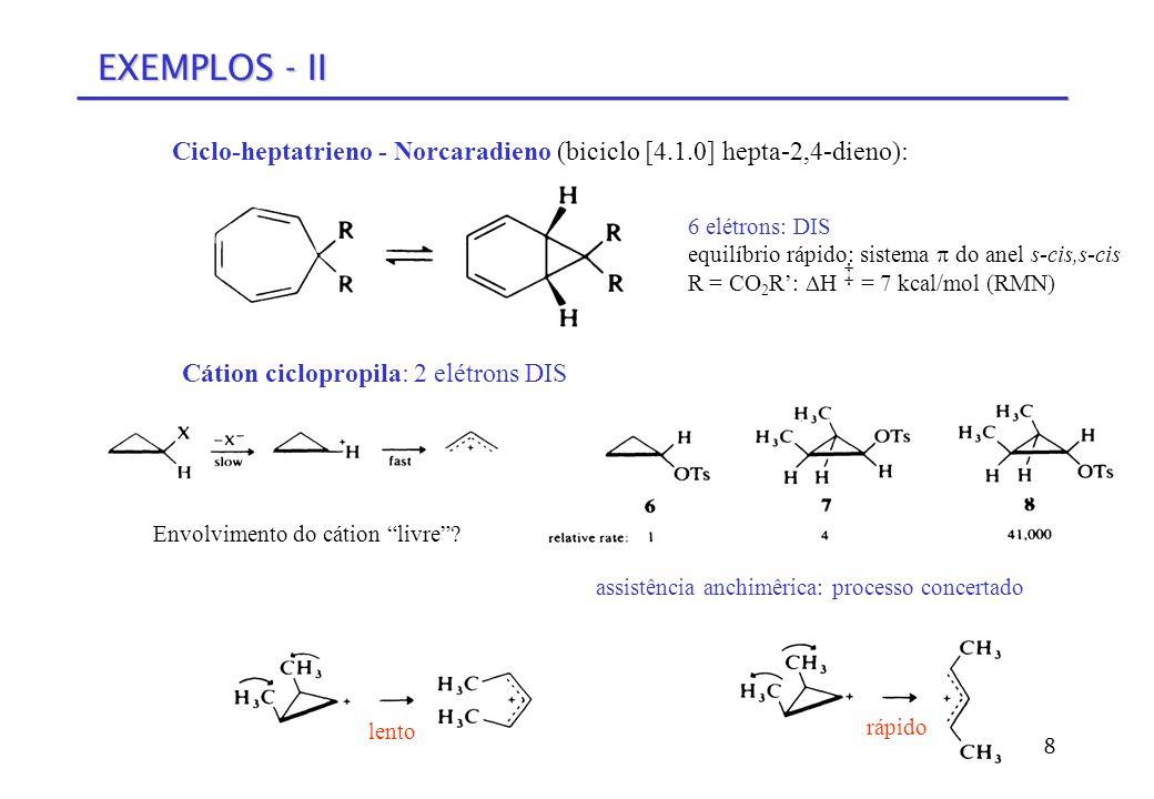 EXEMPLOS - II Ciclo-heptatrieno - Norcaradieno (biciclo [4.1.0] hepta-2,4-dieno): 6 elétrons: DIS.